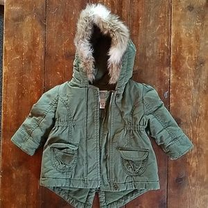 Olive green jacket with faux fur